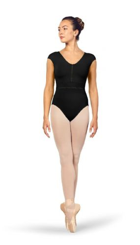 BLOCH Ladies Dance V Neckline Cap Sleeves Leotard Mesh Back Kalila L4942 Black